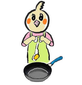 卵 玉子 たまご 目玉焼き 卵を割る 卵料理 めぐ エプロン フライパン.png